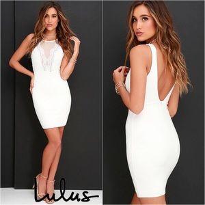 Lulus Coquina White Lace Bodycon Dress NWT Medium